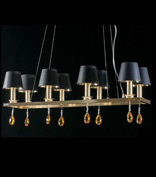 Long dining room chandelier with Swarovski pendants and 4 metal options