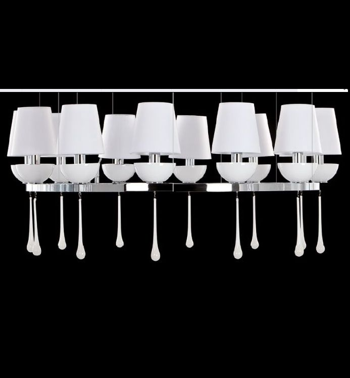 Modern white, black or amber Venetian glass chandelier with choice of frame