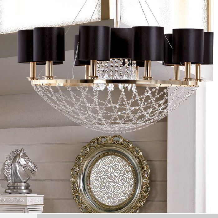 Modern basket chandelier with Swarovski crystals & 4 metal finishes
