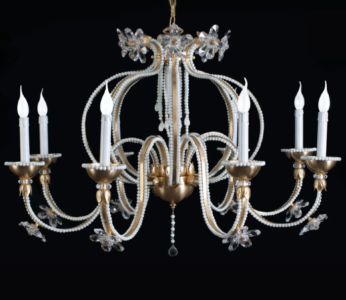 Decorative 6 light chandelier with white Murano glass beads