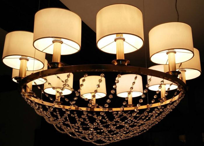 Modern basket chandelier with Italian crystals & 4 metal finishes