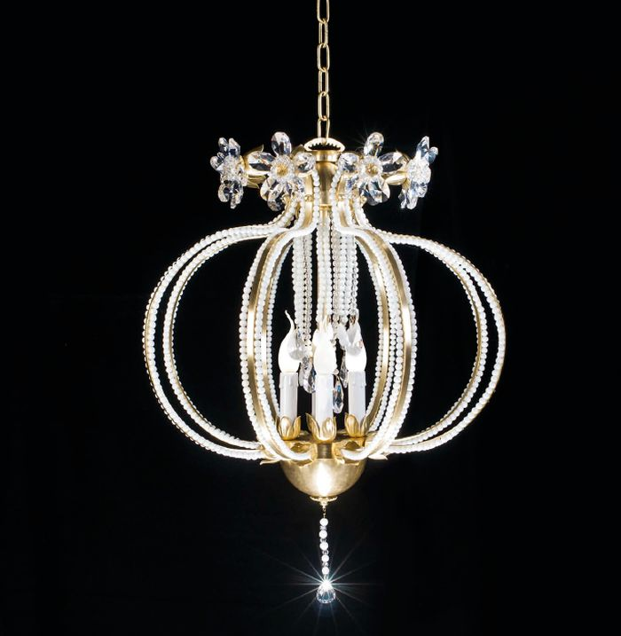 Modern Italian  chandelier with crystal glass beads and 4 metal finishes