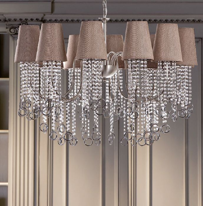 Stylish modern ring chandelier with shades & Swarovski crystal option.