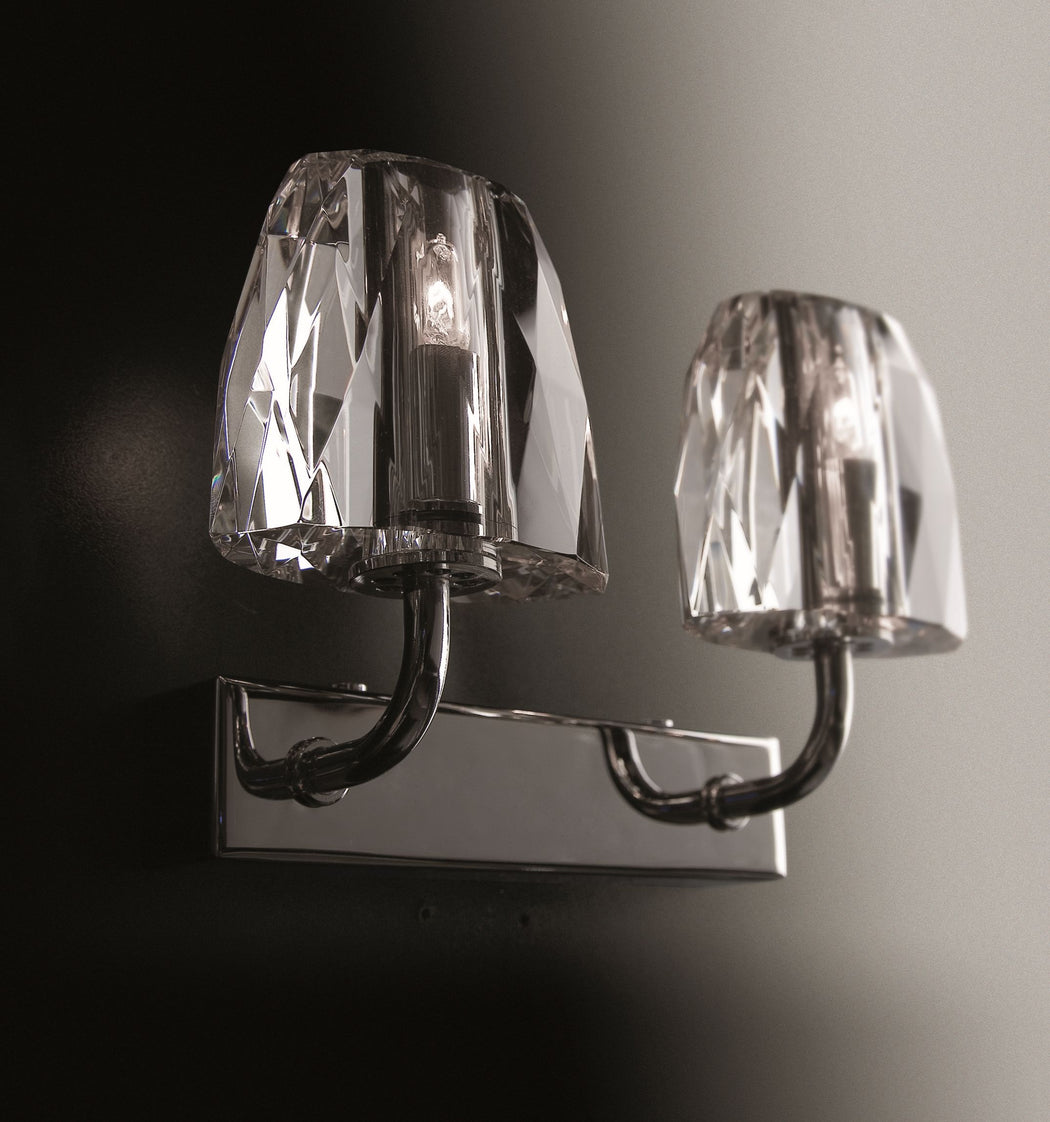 Modern Italian chrome wall sconce with optical glass diffusers