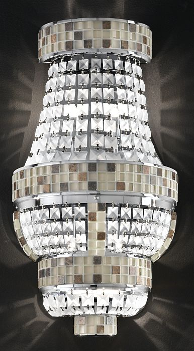 Generously sized Empire style wall light with marble and crystal  mosaic