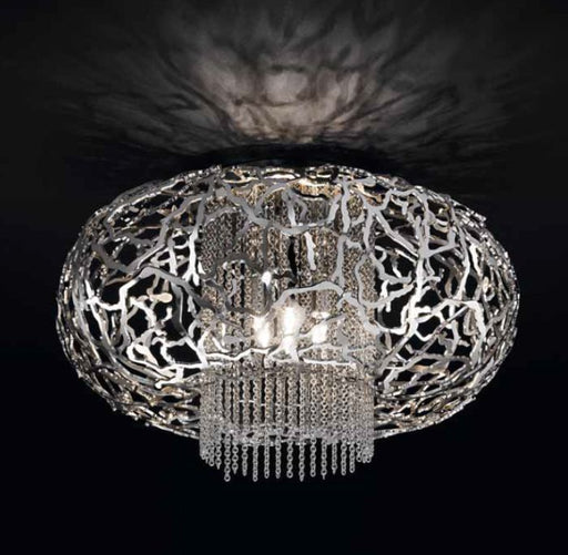 Metal filigree flush ceiling light fitting in bronze, gold or steel
