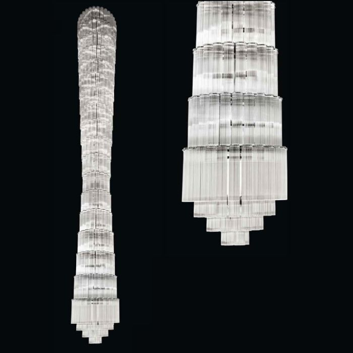 Incredible modern  5.7 metre Italian glass stairwell chandelier
