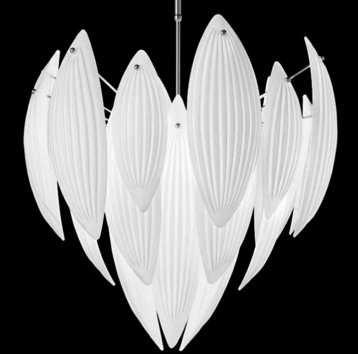 Milk-white 1970s style Murano glass ceiling pendant  in 5 sizes