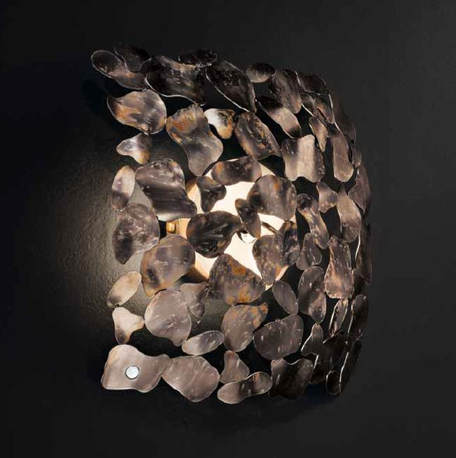 Modern rustic brown or silver steel wall lamp with decorative chains