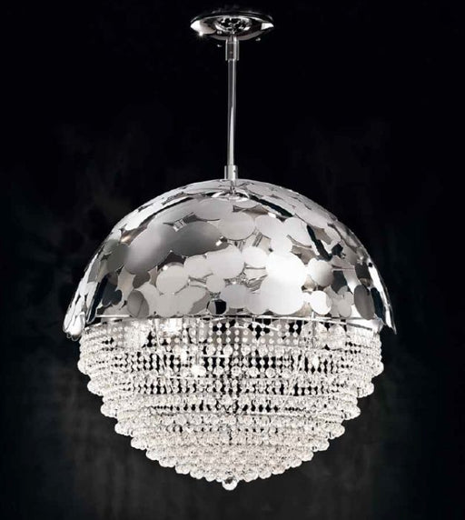 Modern Italian gold or chrome bubble design pendant light with crystals