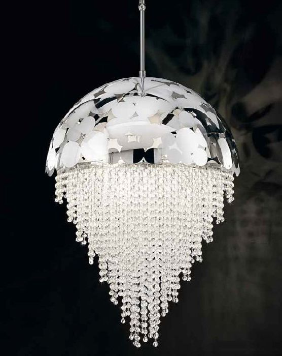 Glamorous Italian chrome or gold metal bubble pendant light with crystals