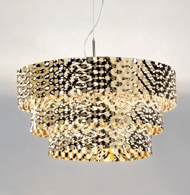 Modern Italian hammered metal ceiling pendant light in steel or  gold
