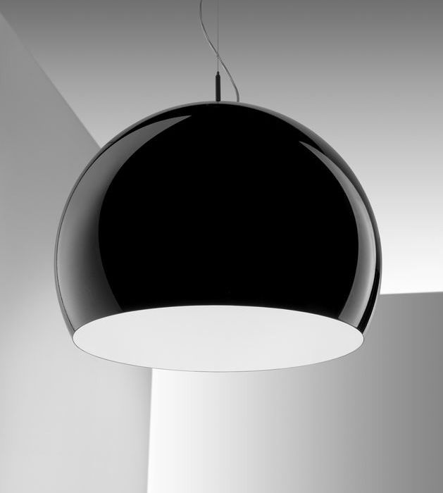 Black or white modern Italian metal dome light with gold leaf interior