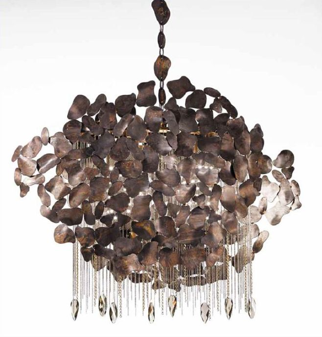 Gorgeous silver or brown Italian steel pendant light with  Swarovski crystals