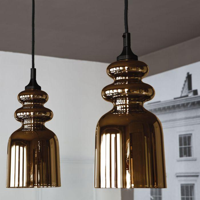 Modern Italian bronze or chromed glass designer ceiling pendant light
