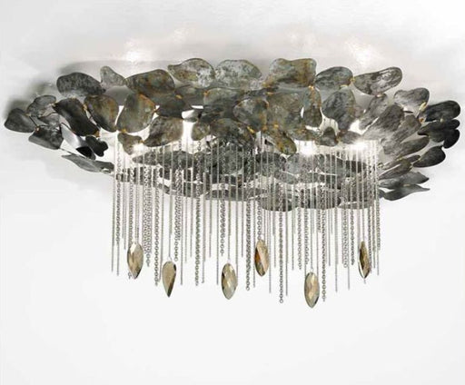 Contemporary silver or brown steel flush ceiling light from Italy