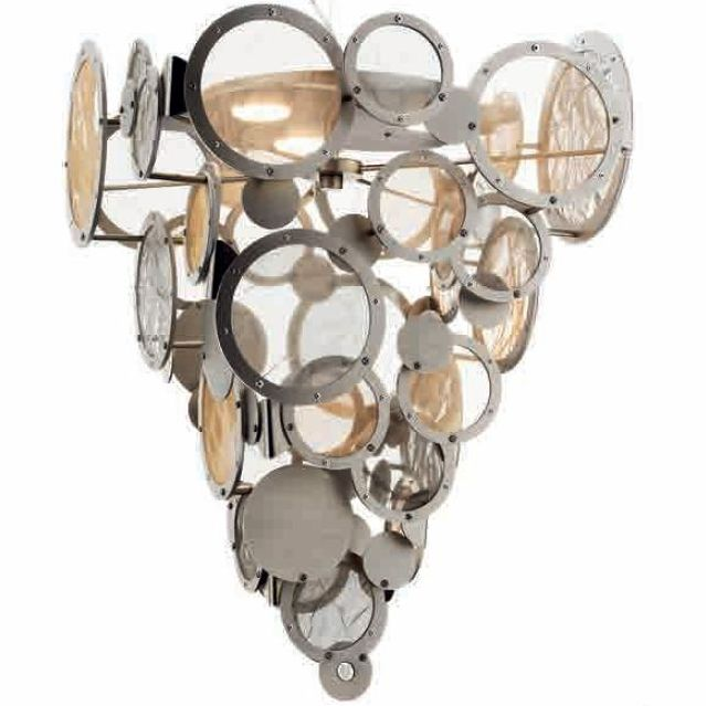 Large hand-finished Italian disc hanging light with custom metal finishes