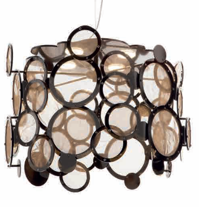 Fabulous modern disc ceiling pendant with 5 custom metal finishes