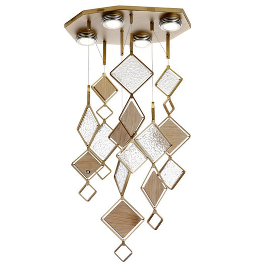 Customisable oak & Murano glass ceiling light with bronze frame