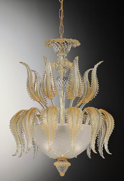 Murano glass ceiling light with golden leaves