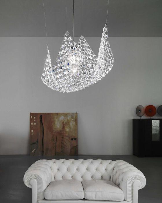 Pareo Modern  nickel hanging light by Marchetti with glass crystals