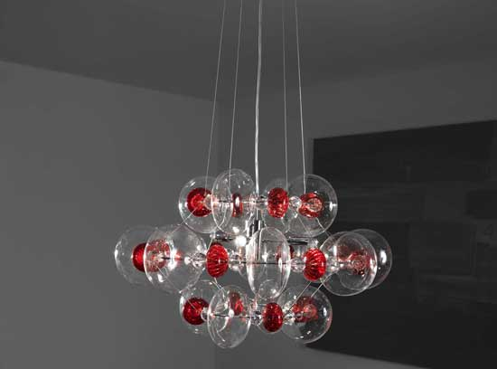 Modern clear and coloured Italian glass pendant light in several sizes and colors