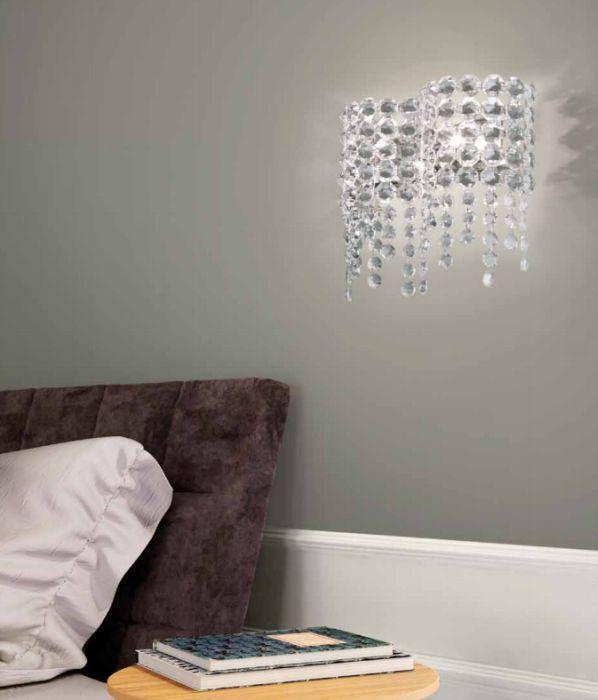 Beautiful modern  Italian wall light with Swarovski crystal pendants