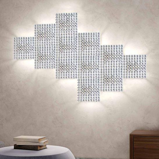 Modern Italian wall or ceiling light with clear, red, and black crystal options