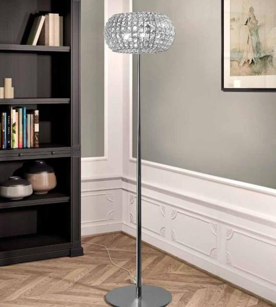 Modern nickel & Italian crystal floor light with gold frame & Swarovski crystal options
