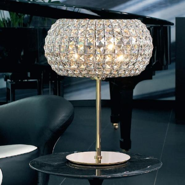 24 carat gold-plated modern Italian table light with clear Spectra crystals