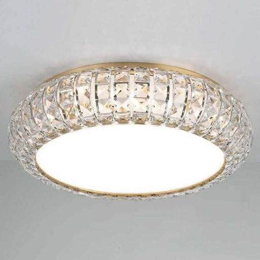 Gold-plated or nickel flush-fitting ceiling light with Spectra crystals
