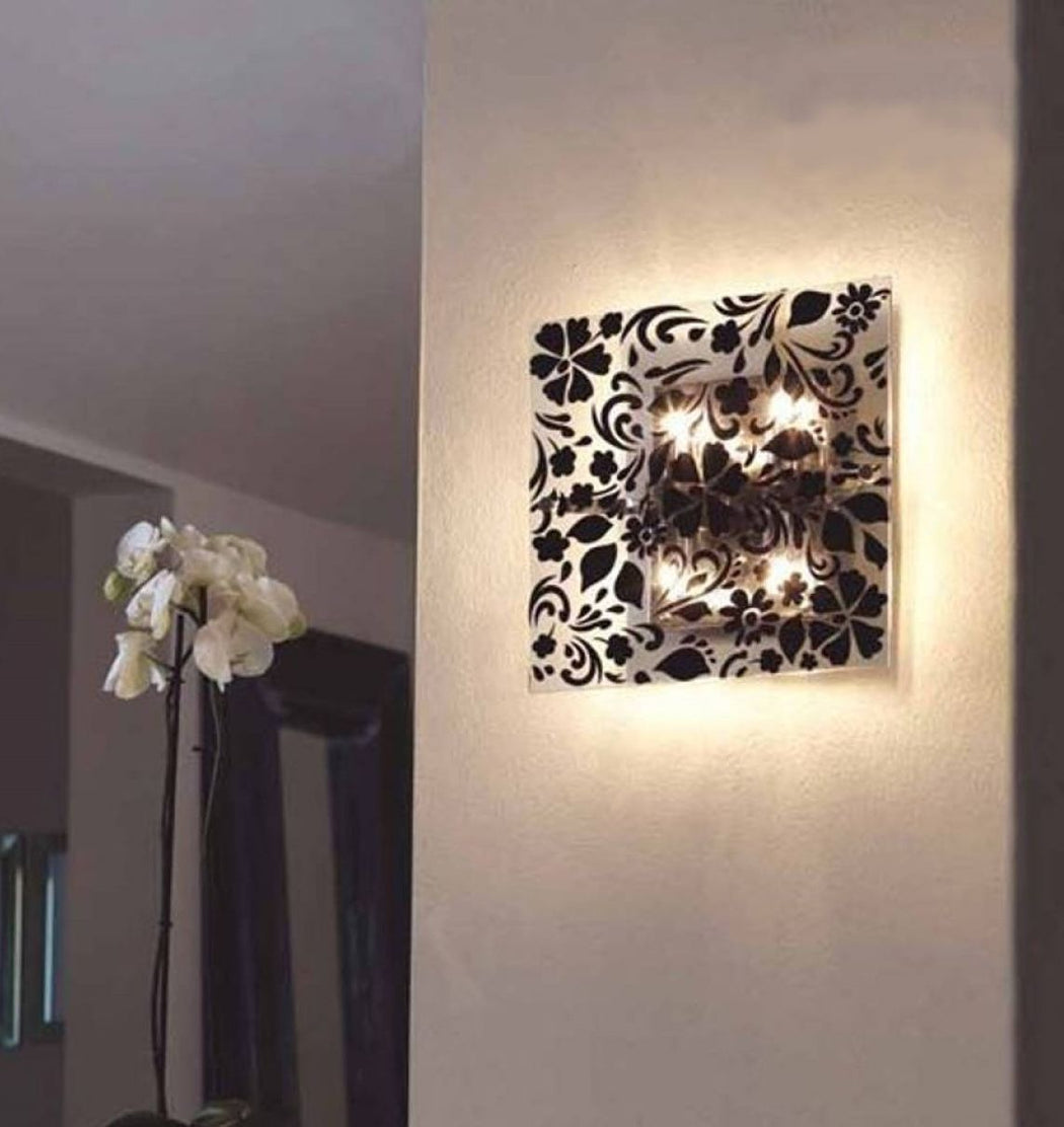 Modern wall or ceiling light with black or white velvet devore pattern