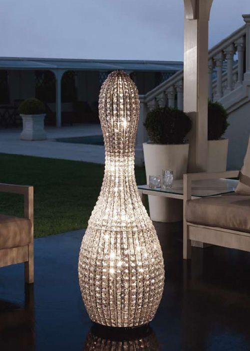 Brillo 125 cm glass crystal floor lamp from Marchetti with silver nickel metal parts
