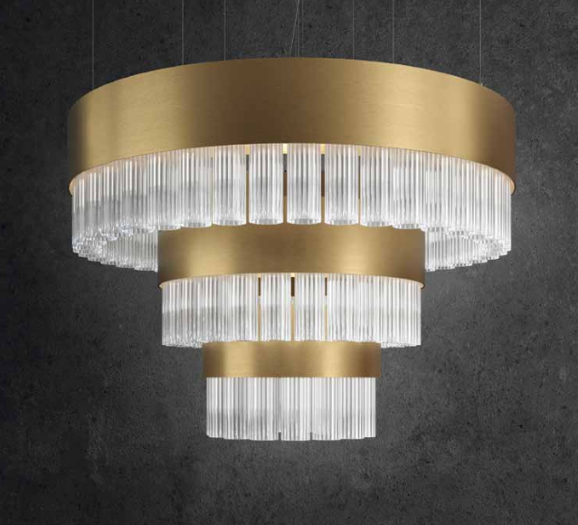 Spectacular modern ribbed Italian glass stairwell-style chandelier with 7 metal finishes