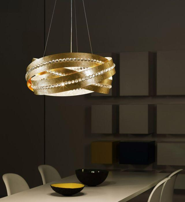 Essentia modern metal & crystal pendant with gold, copper, white, or silver finish