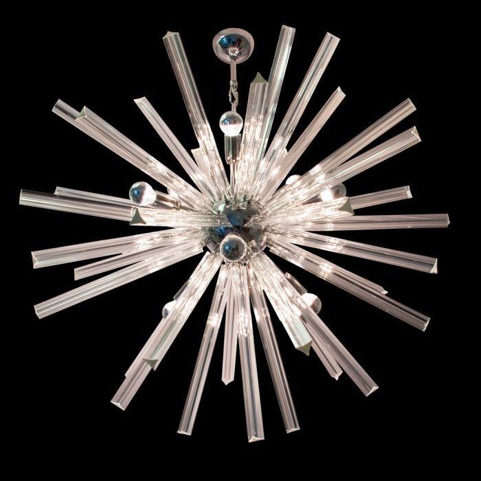 50s mid-century-style Murano glass-style Sputnik chandelier with gold or chrome frame