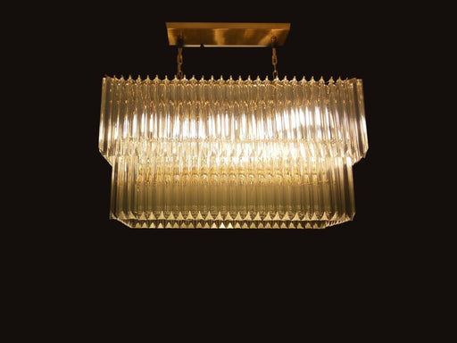 Gold or chrome plated rectangular dining room chandelier with bespoke color option