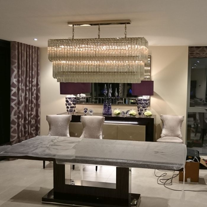 Gold Or Chrome Plated Rectangular Dining Room Chandelier With