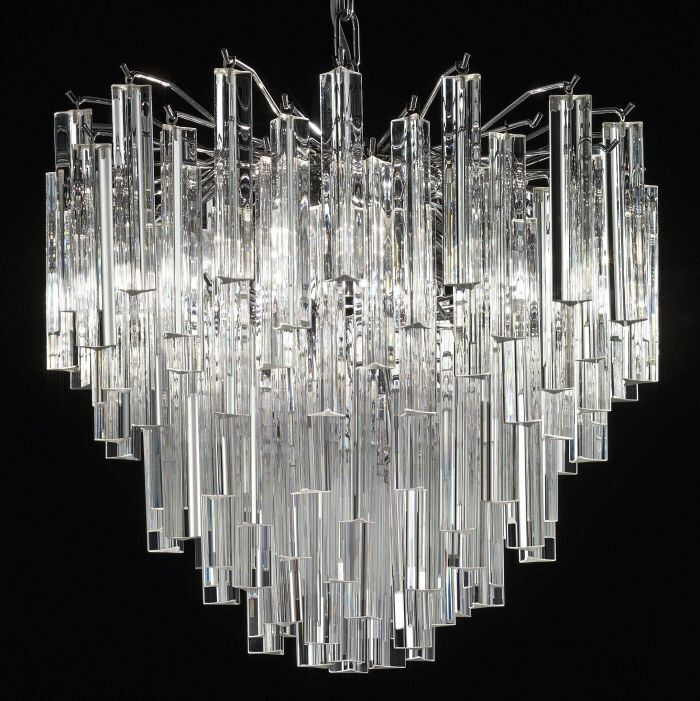 Custom mid-century chandelier with Murano glass triedri prisms in custom sizes