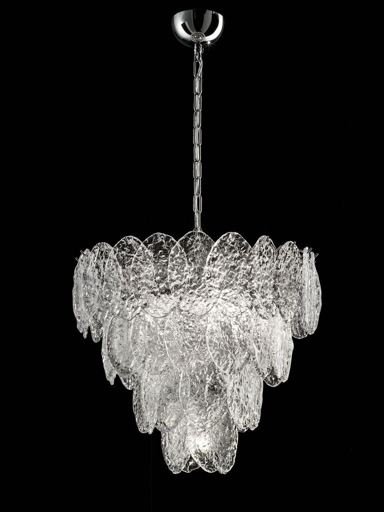 Custom retro-style Murano piastra glass chandelier