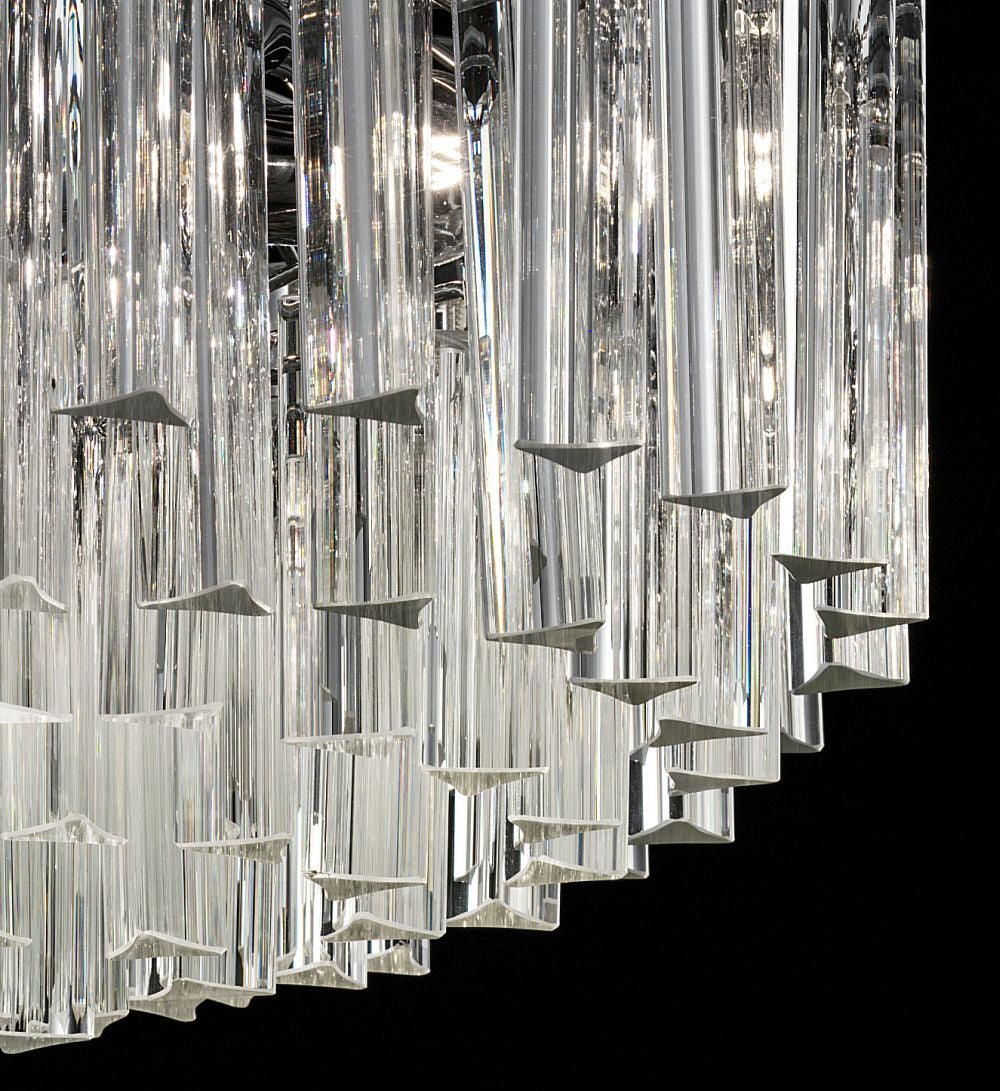 Custom drum chandelier with Murano glass prisms, bespoke sizes and custom colors