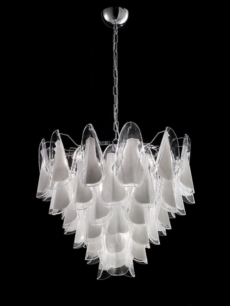 75 cm white and clear Murano glass custom chandelier