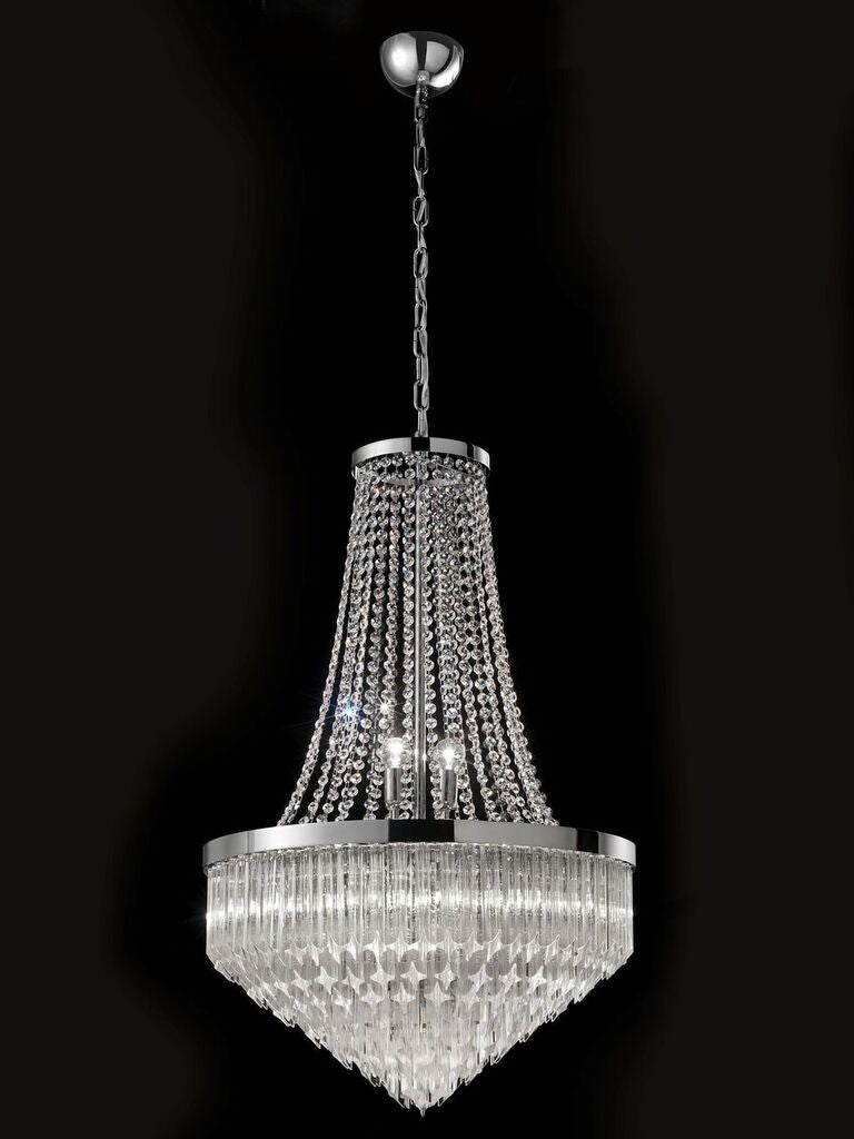 Modern Empire-style chandelier with  Murano glass quadriedri prisms
