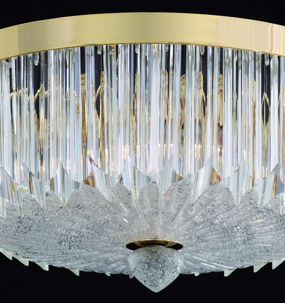 32 cm quadriedri prism flushceiling  light with 24 carat gold-plated frame