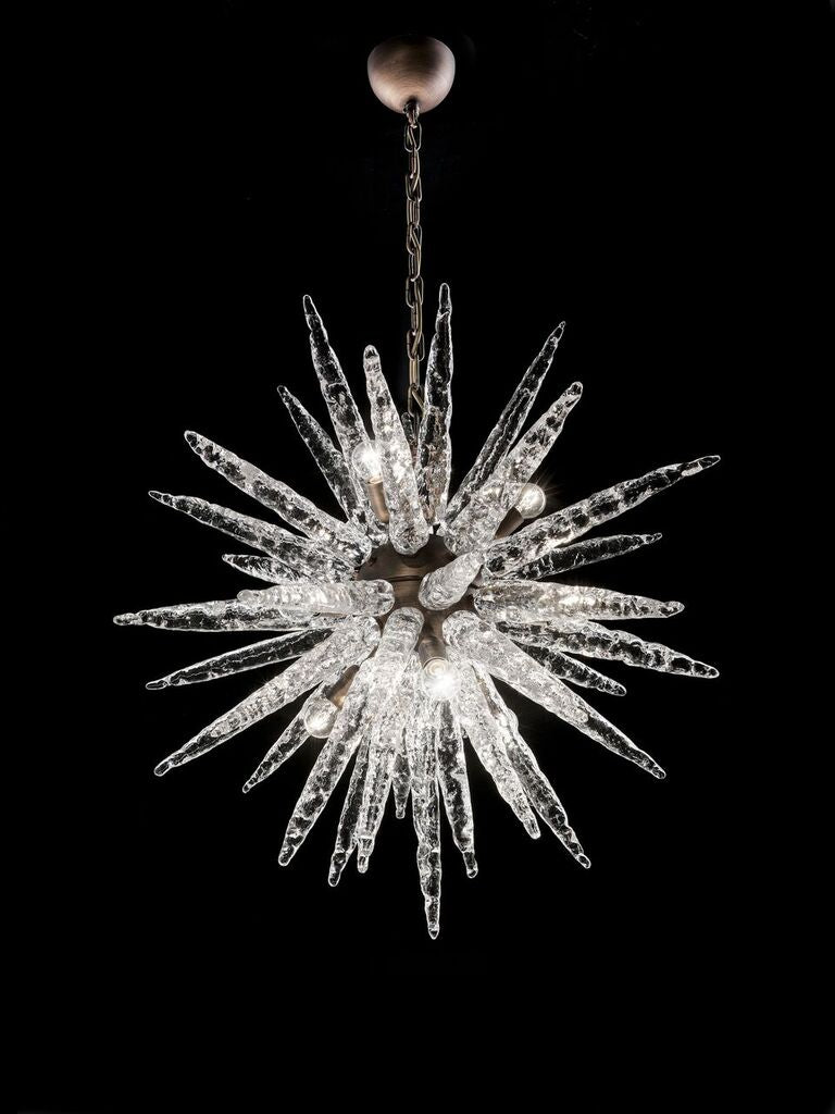 Murano glass chandelier in the 1960s space-age Sputnik style