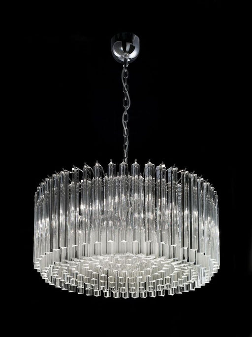 Mid century-style triedri prism drum chandelier in 6 sizes with gold or chrome frame