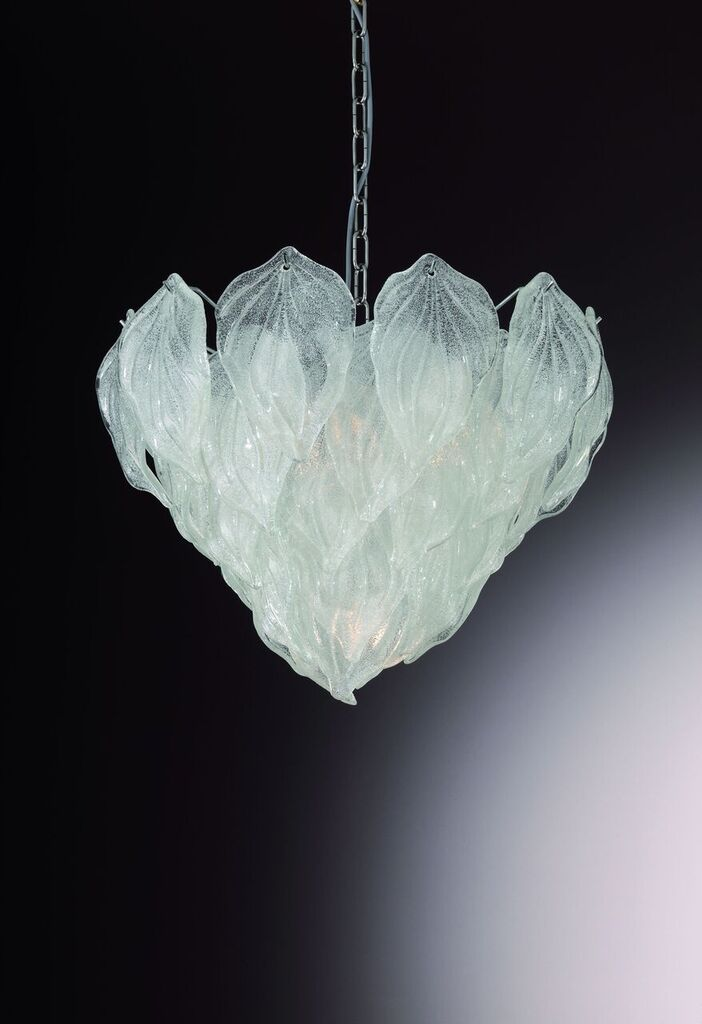 Mid century style leaf chandelier in clear or amber Murano glass