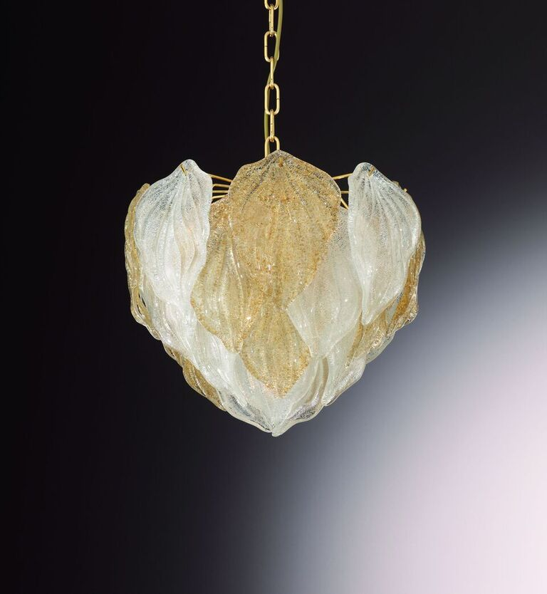 Amber or clear Venetian piastra glass pendant light with chrome or 24 carat gold frame