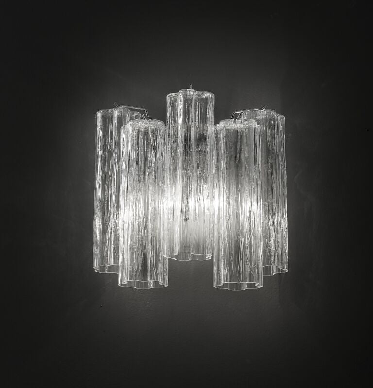 Mid-century clear Tronchi style wall light in Murano glass with custom options