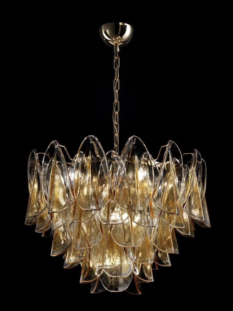 75 cm mid-century amber Murano glass petali chandelier in bespoke colors